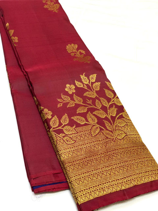 Bridal Maroon Red Kanchipuram Silk Saree