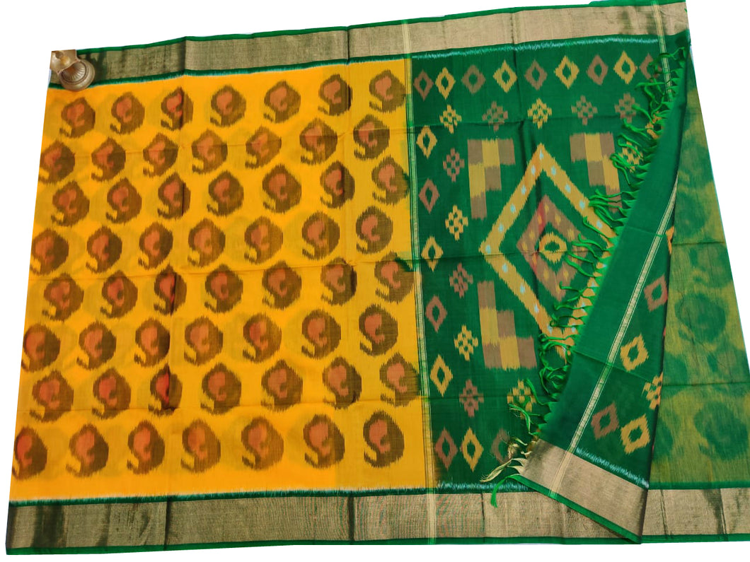 Yellow Pochampally Ikat Sico Saree