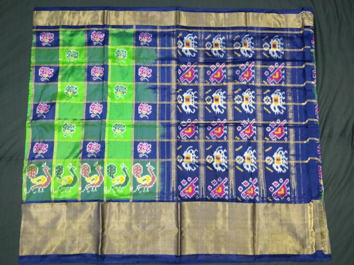 Green and Blue Checkered Pochampally Ikat Silk Saree