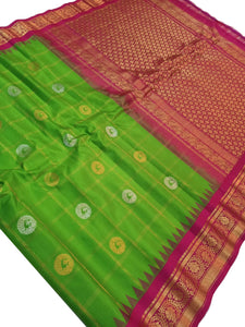 Green Checkered Gadwal Silk Saree