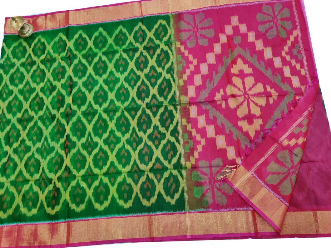 Green Pochampally Ikat Sico Saree