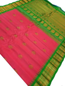 Bridal Pink Gadwal Silk Saree