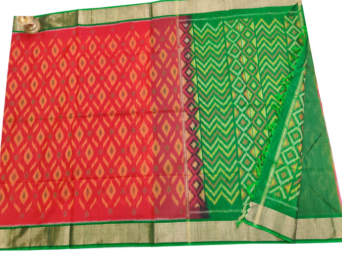 Red Pochampally Ikat Sico Saree