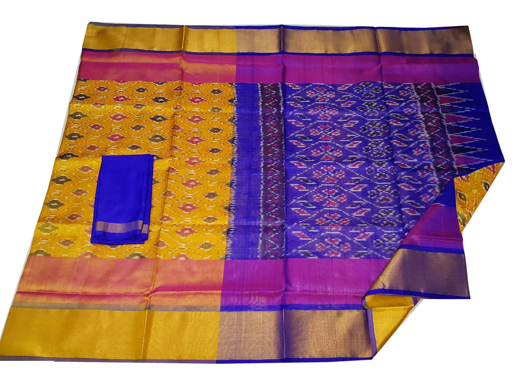 Yellow Uppada Ikat Silk Saree