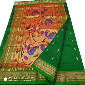 Green Paithani Silk Saree