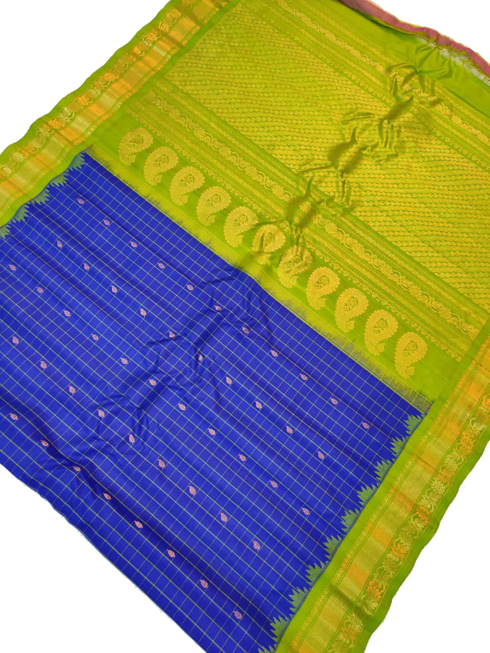 Blue Checkered Gadwal Silk Saree