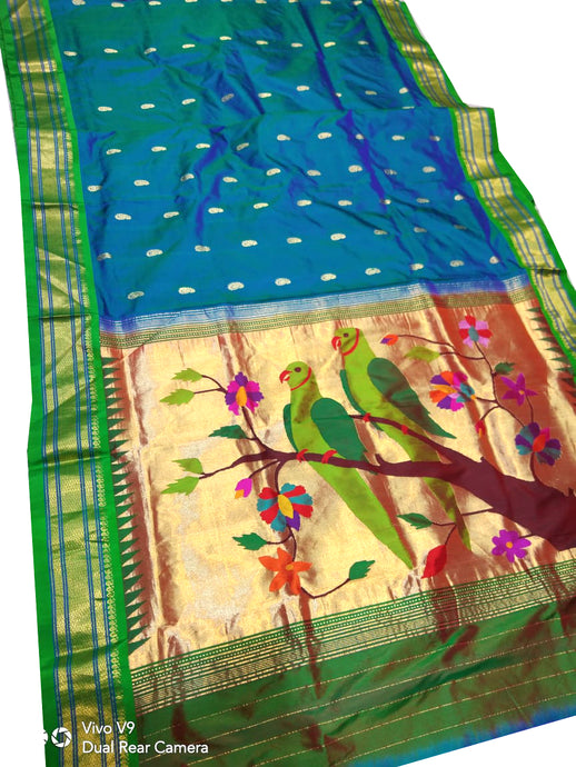 Peacock Blue Paithani Silk Saree