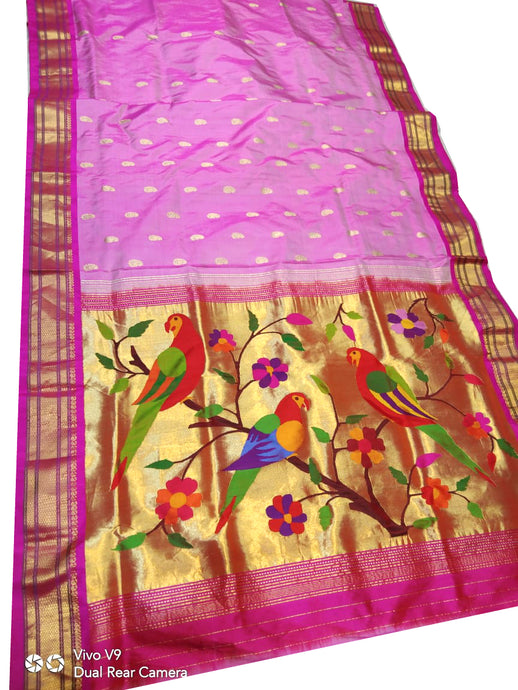 Light Pink Paithani Silk Saree