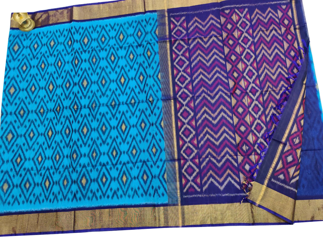 Blue Pochampally Ikat Sico Saree