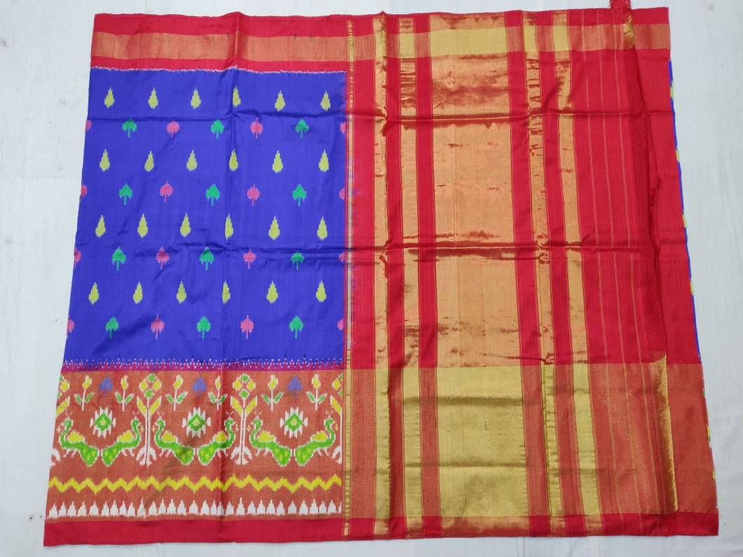 Blue Pochampally Ikat Silk Saree
