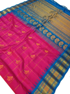 Pink Checkered Gadwal Silk Saree