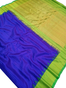 Royal Blue Checkered Gadwal Silk Saree
