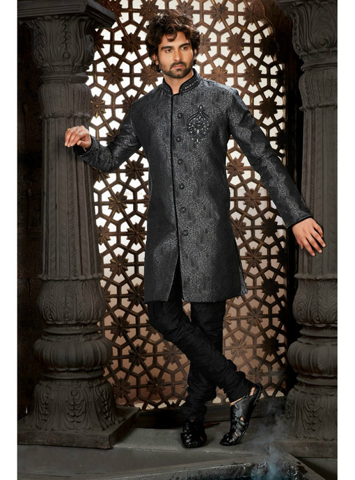 Slate Grey Wedding Sherwani