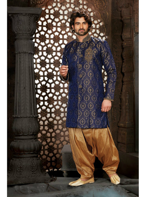 Navy Blue Wedding Sherwani