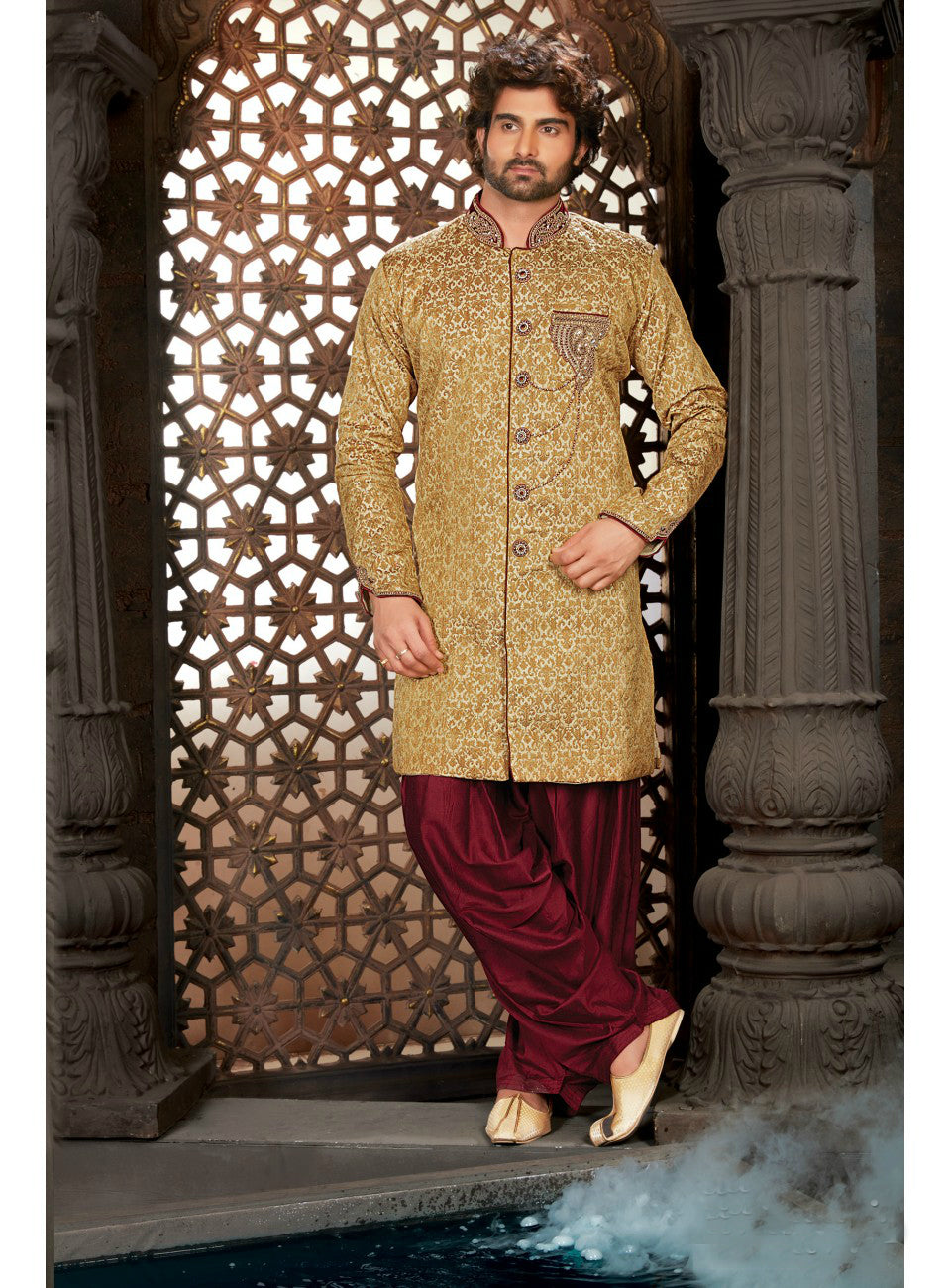 Golden Wedding Sherwani