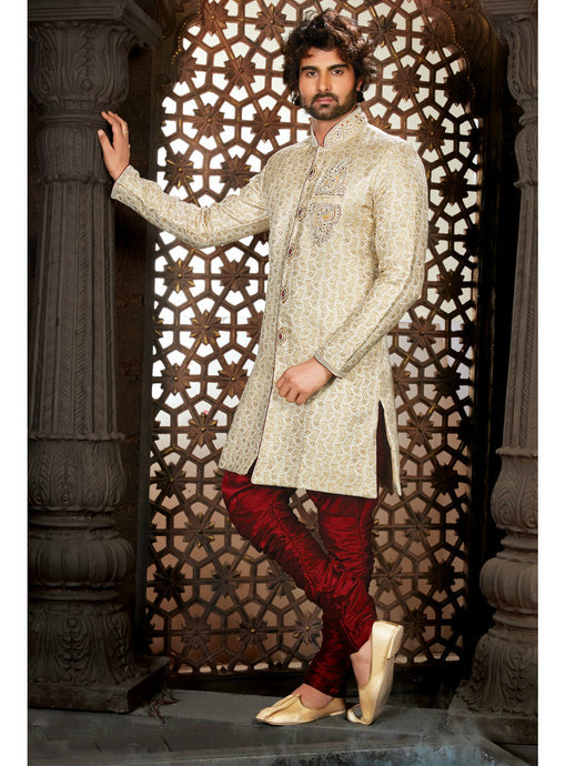 Off White Wedding Sherwani