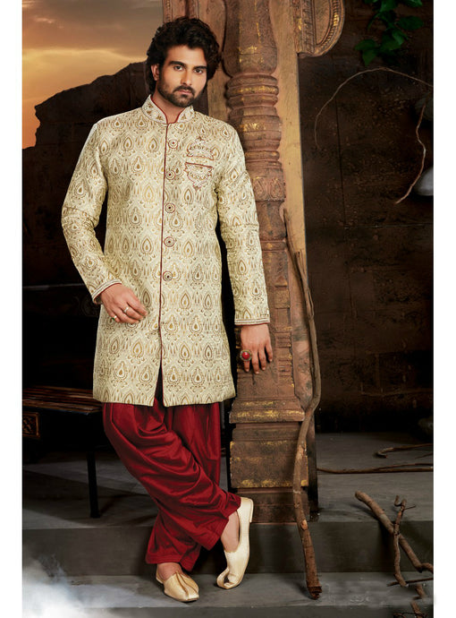 Cream Wedding Sherwani