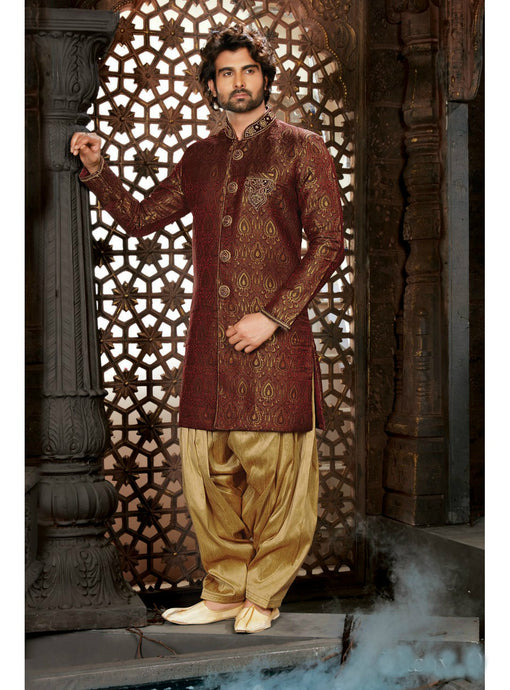 Maroon Wedding Sherwani