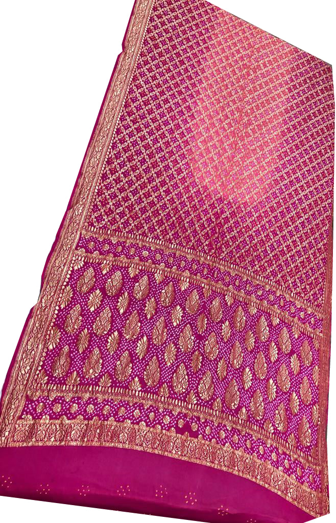 Dark Pink and Light Pink Bandhani Silk Saree