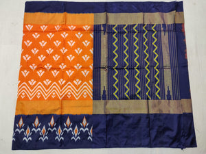 Orange Pochampally Ikat Silk Saree