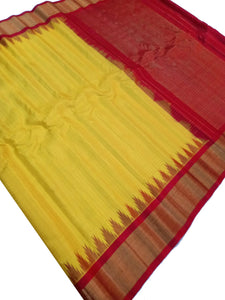 Yellow Checkered Gadwal Silk Saree