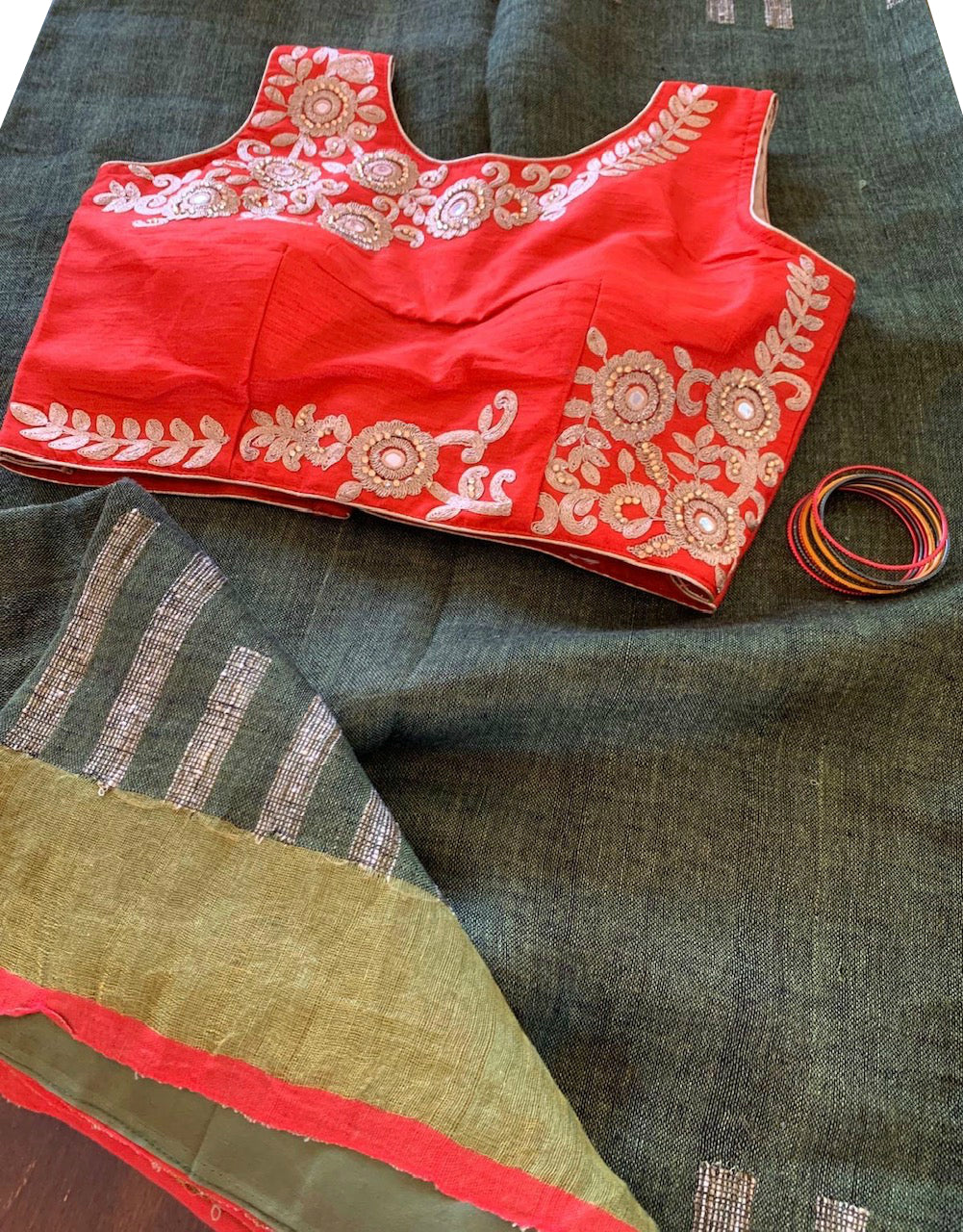 Olive Green Linen Saree with Blouse