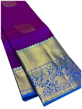 Load image into Gallery viewer, Purple and Blue Kanchipuram Silk Saree
