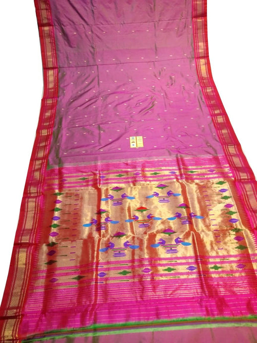 Onion Pink Paithani Silk Saree