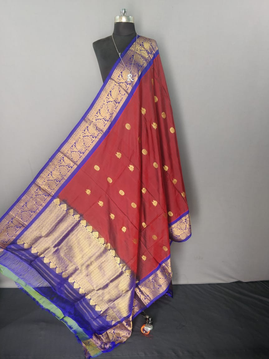 Maroon and Purple Kanchipuram Silk Dupatta