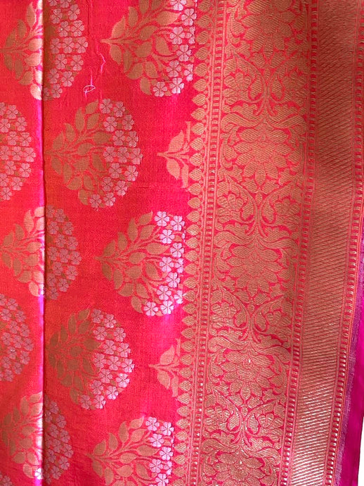 Pink Batik Silk Saree