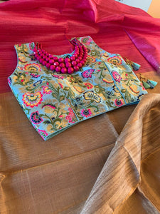 Pink And Beige Ghicha Tussar Silk Saree With Blouse