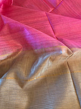 Load image into Gallery viewer, Pink And Beige Ghicha Tussar Silk Saree With Blouse