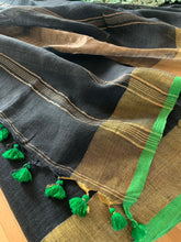 Load image into Gallery viewer, Black Linen Saree