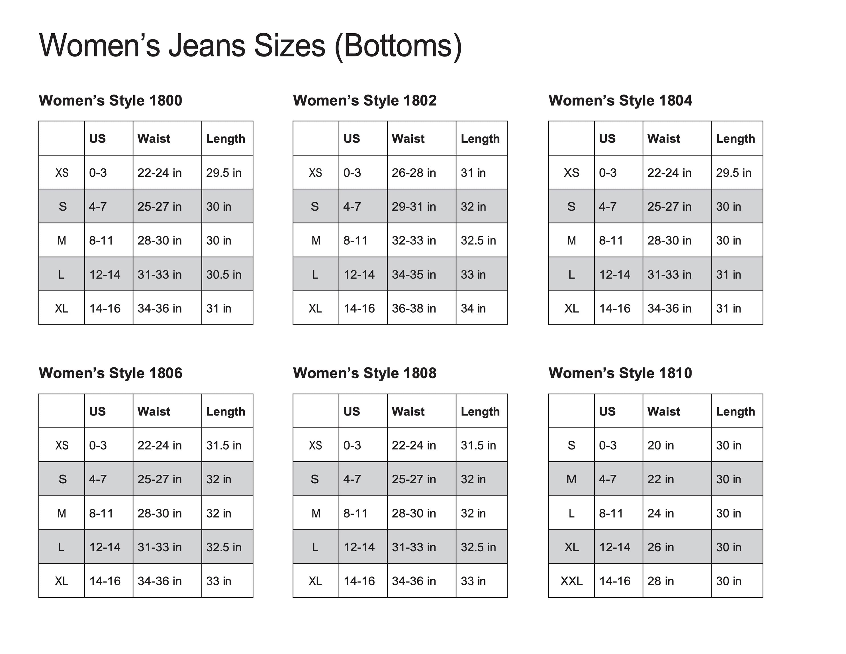 Eternal 18 Women's Bottoms Size Chart