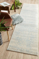 Evoke Glacier White Blue Transitional Runner Rug