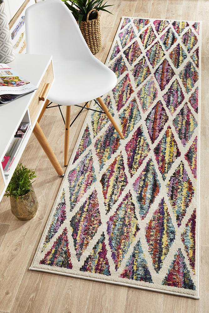 Gemini Modern 502 Multi Coloured Runner Rug - Block & Crate