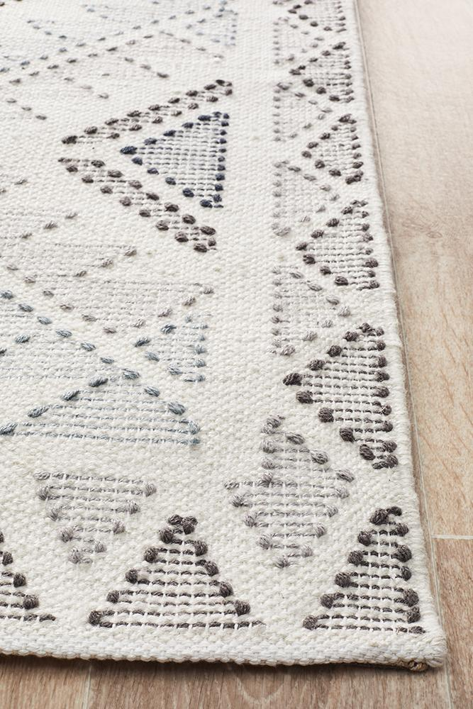Vidya Rug White Blue Grey - Block & Crate