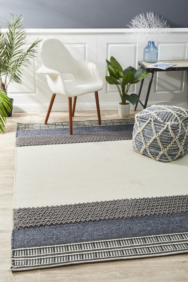 Esha Textured Woven Rug White Denim - Block & Crate