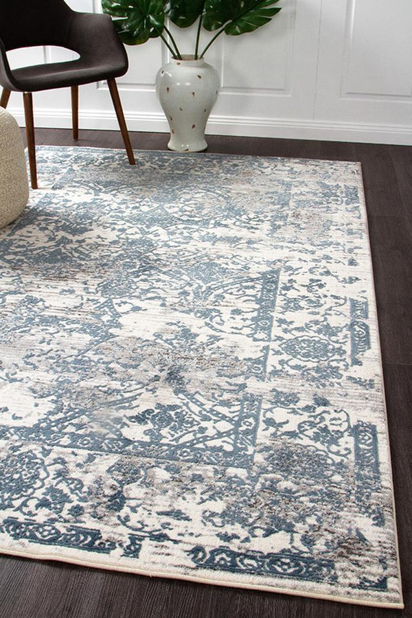 Kendra Yasmin Distressed Transitional Rug White Blue Grey - Block & Crate