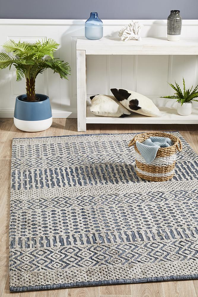 Levi Corey Navy Grey Rug - Block & Crate