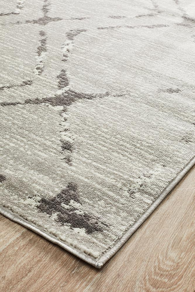 Kendall Contemporary Diamond Rug Silver Grey - Block & Crate