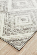 Sabrina Geo Diamonds Rug Silver Grey - Block & Crate