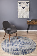 Mirage Ashley Abstract Modern Blue Grey Round Rug - Block & Crate