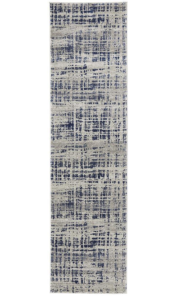 Mirage Ashley Abstract Modern Blue Grey Runner Rug - Block & Crate