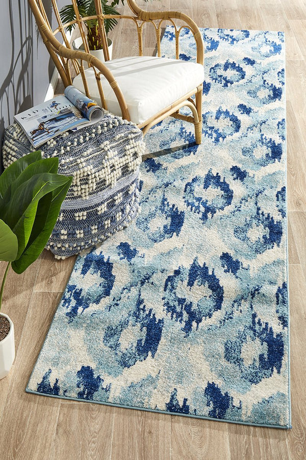 Mirage Lesley Whimsical Blue Runner Rug - Block & Crate