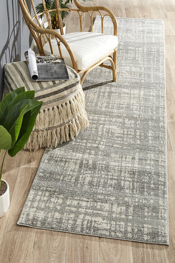 Mirage Ashley Abstract Modern Silver Grey Runner Rug - Block & Crate