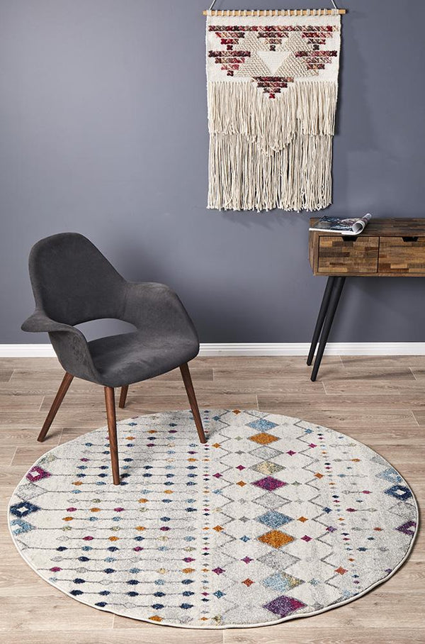 Mirage Peggy Tribal Morrocan Style Multi Round Rug - Block & Crate
