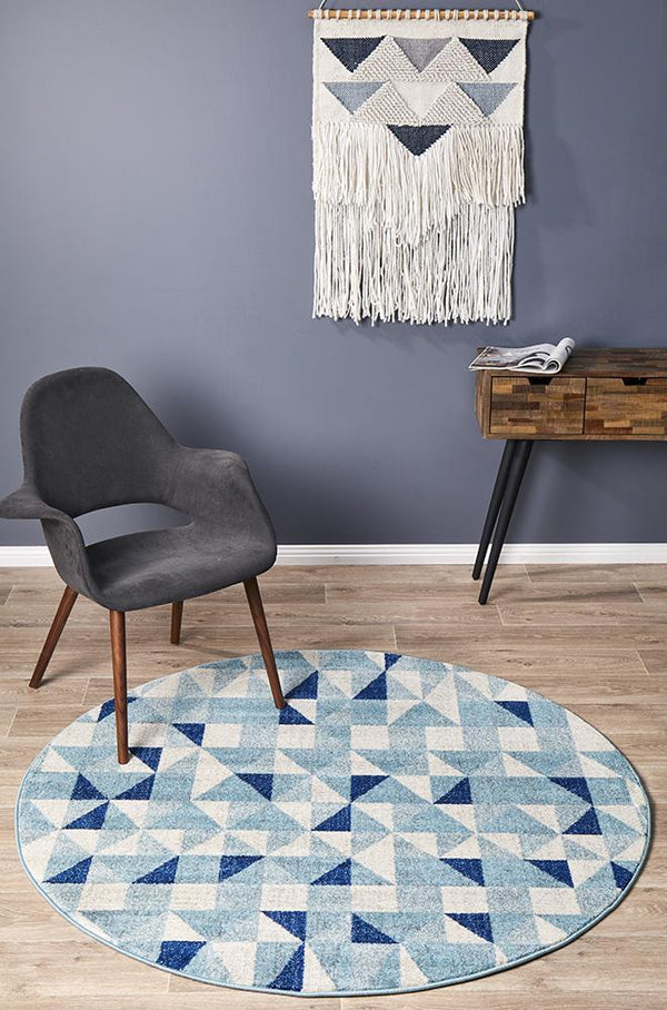 Mirage Illusion Modern Geo Blue Ivory Round Rug - Block & Crate