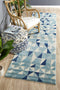 Mirage Illusion Modern Geo Blue Ivory Runner Rug - Block & Crate