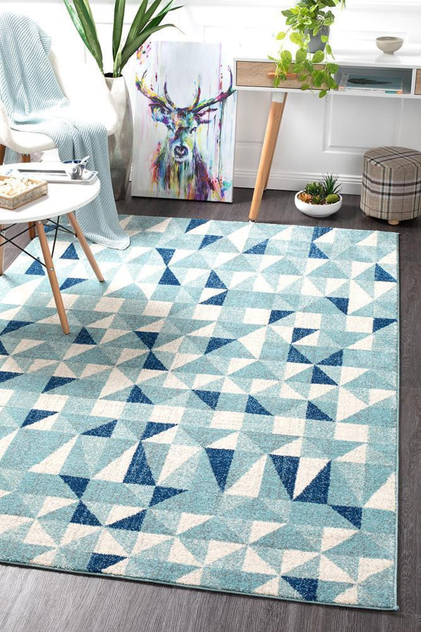 Mirage Illusion Modern Geo Blue Ivory Rug - Block & Crate
